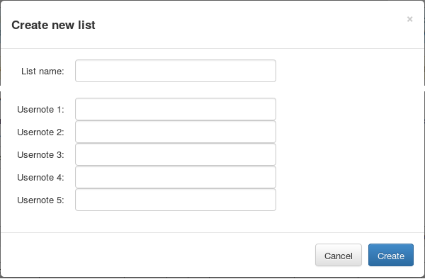 Create new list dialogue in Map Compare
